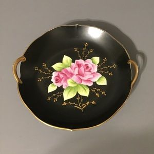 Other - Vintage arnart black pink rose plate